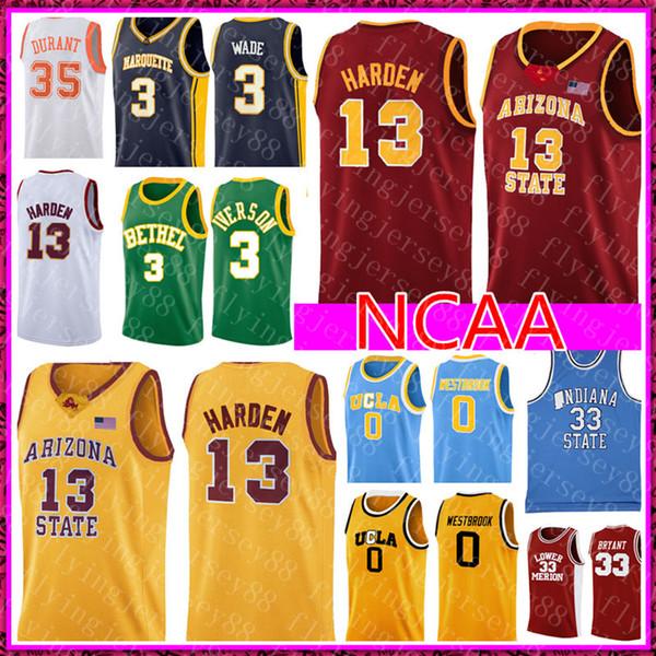 James 13 Harden NCAA College Jersey Hombres Allen 3 Iverson 0 Westbrook Baloncesto Jerseys Bordado Logos S-XXL