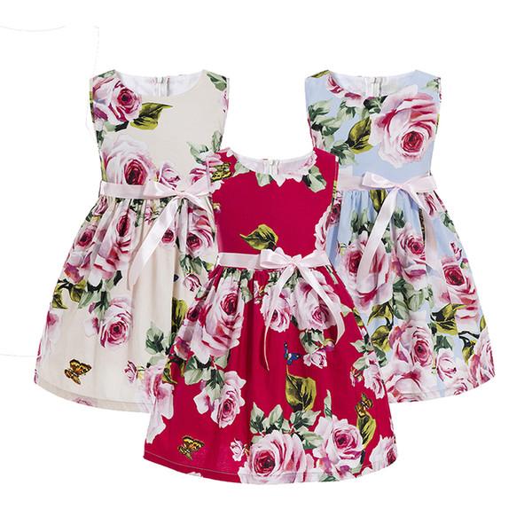 Kinderen kleding zomer stijl meisje bloem tiener tiener meisjes kleding meisjes avondjurken jurk voor tiener