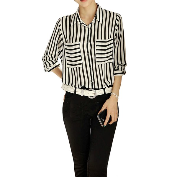 510aa0af Black White Stripped Female Blouses Long Sleeve Button Down Women's Shirt  Vertical Striped Chiffon Pocket Career