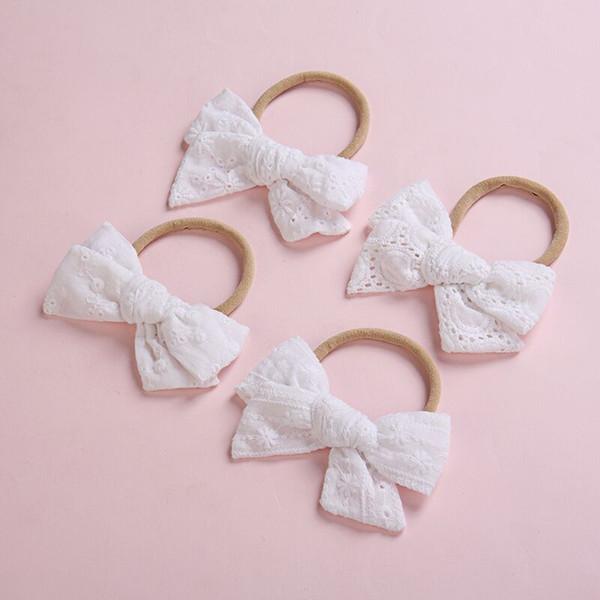 12 pçs / lote, laço branco handtied arco Nylon Headbands ou grampos de cabelo, meninas da escola ilhó tecido arco acessórios para o cabelo