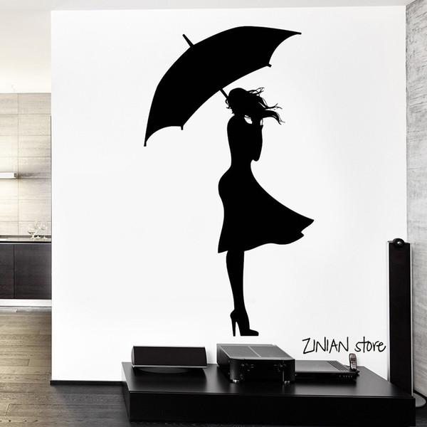 Acheter Sexy Fille Pluie Stickers Muraux Automne Amour Autocollant Mural Pour Adolescent Chambre Amovible Décoration Murale Art Art Mural Papier Peint