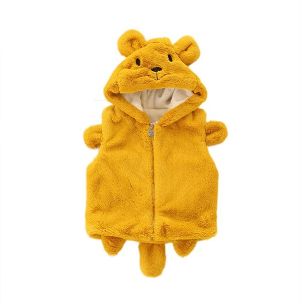 Baby Girls Coats Kids Jacket Children Novelty Animal Ear Hooded Baby Girls Vest Coat Winter Outerwear Tops