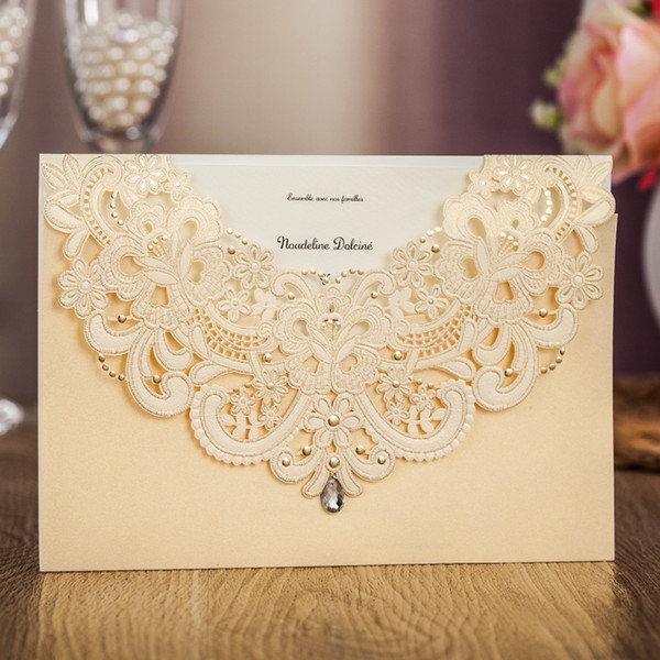 Wishmade Sample Champagne Gold Laser Cut Wedding Invitation Cards With Drill Rsvp Card Thank You Card For Party Supplies Free Online Christmas Cards