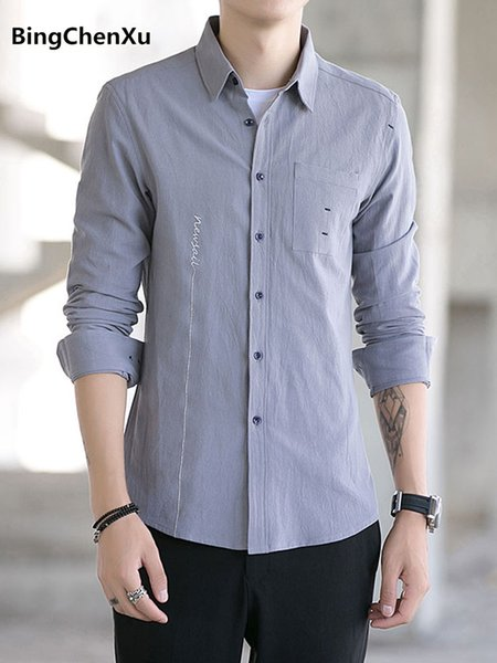 luxury brand men's shirt high quality cotton Solid shirt spring autumn fashion social shirts fomal shirts for men plus size 1192