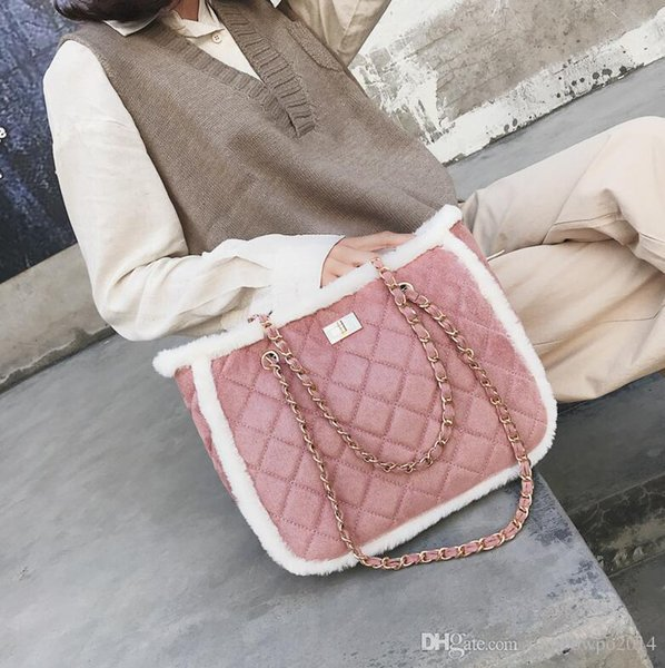 Wholesale brand women bag classic small fragrant wind chain bags winter new Lingge shoulder bag fashion large-capacity lamb hair women messe