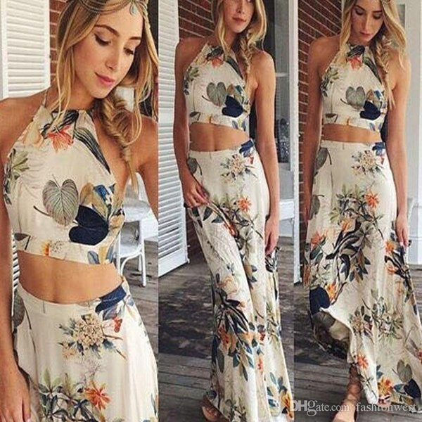 Beach Holiday Dresses Donna Crop Top Midi Skirt Set Summer Holiday Beach Gonne Sexy Trendy Due pezzi Abiti per le donne