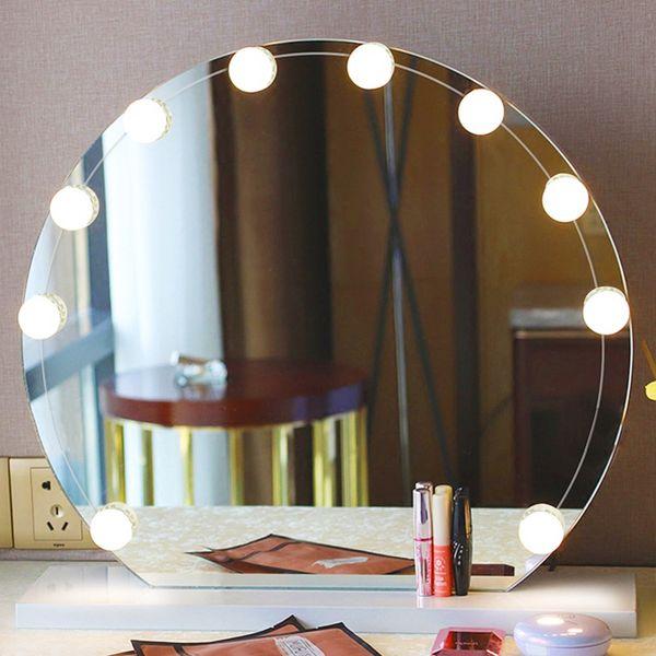 купить оптом светодиодные лампы тщеславия зеркало для макияжа холодный свет Led зеркало тщеславия лампы комплект объектив фар голливуд стиль комод