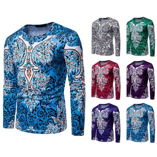 Tunevuse 2019 Autumn African Tradition Dashiki Men Clothes T-shirt Print Man Clothing Long Sleeve Tops Shirt Wfct431