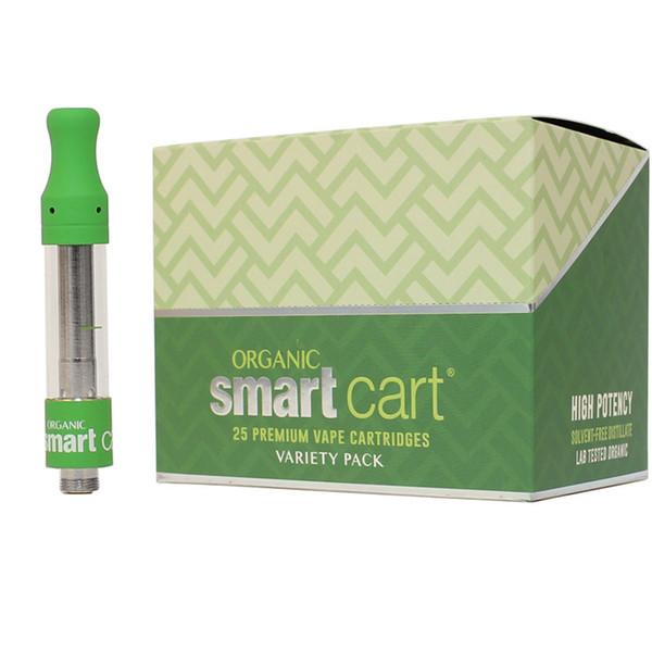 Cartuchos inteligentes Vape Cartuchos 1.0 ml Tanque de vidrio de cerámica Verde atomizadores de punta de goma con paquetes de sabor para Smartcart Vape Pen