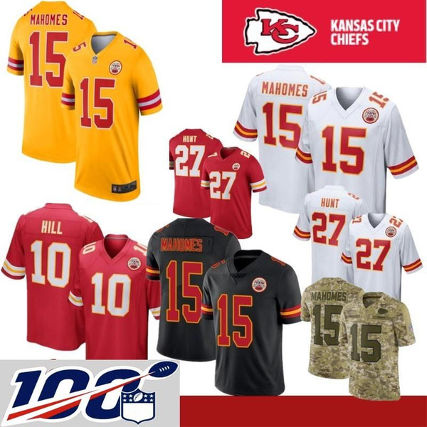 size 40 41c4c ad2cf 2019 100th Patch 15 Patrick Mahomes II Kansas City Stitched Chiefs 10  Tyreek Hill 87 Travis Kelce 29 Eric Berry Thomas Houston Watkins Jersey  From ...