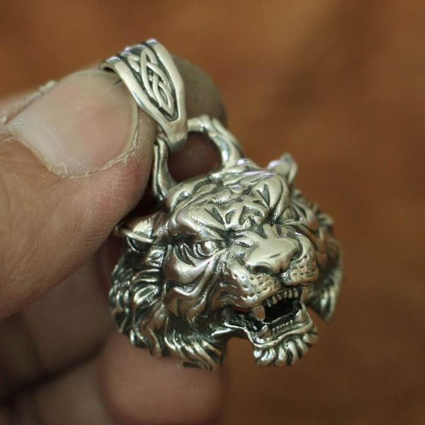 LINSION 925 Sterling Silver High Detalhes Tiger Pingente Mens Biker Punk Pingente TA143 JP
