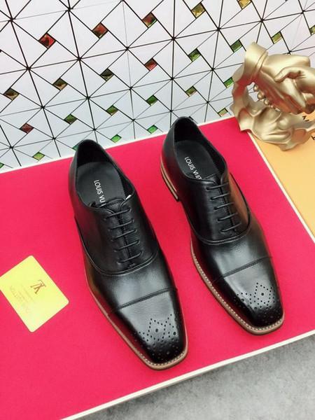3200105 Pointu Upper Men Black Head Hommes Robe Mocassins Mocassins lacets Bottes Pilotes Chaussures Sneakers