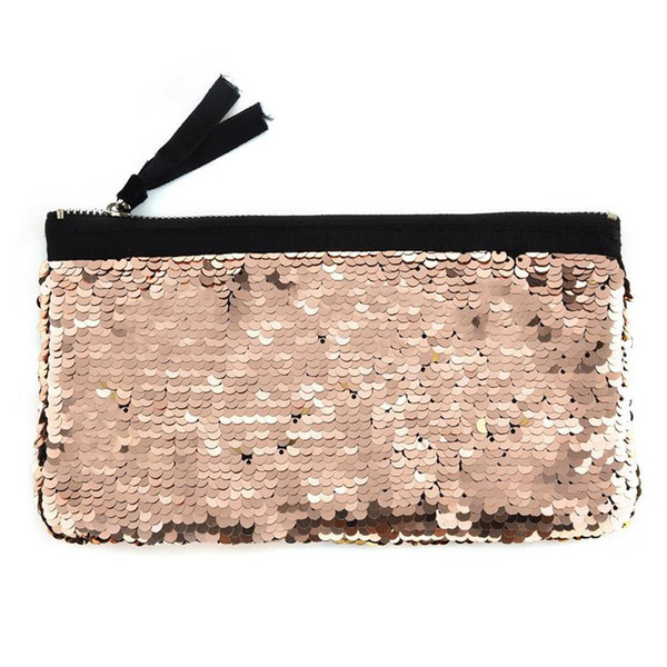 Women Make-up Double Color Sequins Wallet Card Holder Wallet Pen Purse Bags Luxury Handbags Women Bags Designer