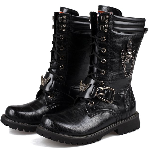 Men handsome Army Boots High Combat Boots Metal Buckle Punk Mid-calf Male Motorcycle Lace Up Men's Shoe Rock38-45