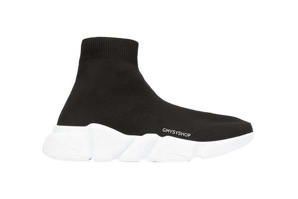 2018 bb Paris Designer Speed Trainer Stretch Knit Mid Schwarz Weiß Turnschuhe Atmungsaktive Socken Stiefel Schuhe Männer Frauen Freizeitschuhe