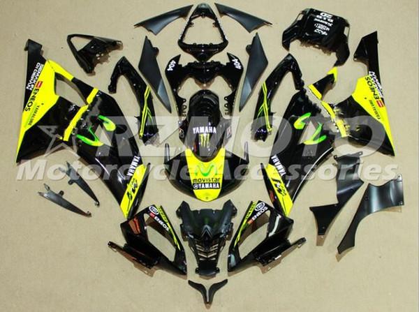 Neue ABS Vollverkleidungssätze passend für YAMAHA YZF-R6 08-16 Baujahr YZF600 2008 2009 2010 2011 2015 R6 Karosseriesatz Custom Cool Black Yellow