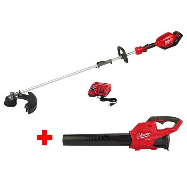 Milwaukee tring trimmer leaf blower kit 18 volt lithium ion cordle bru hle