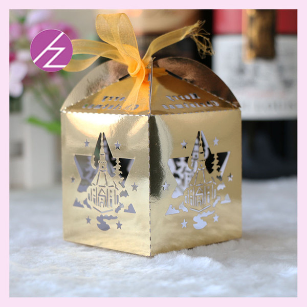 100PCS /lot Personal Custom Favor Holders Eid-ul-fitr Candy Boxes With Ribbon Design Greeting Birthday Party Greeting Festival Ceremony