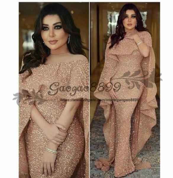 2019 sirena de lujo árabe vestidos de noche largos Jewel Neck Lentejuelas piso-longitud Oriente Medio Prom vestidos de fiesta formales baratos por encargo