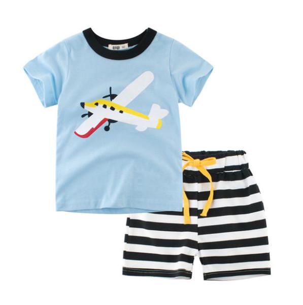 Enfant Bébé Filles Garçons Stripe T shirt Tops Shorts Pantalon Costume Vêtements Set