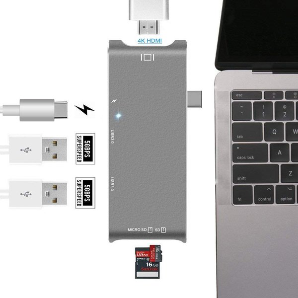 USB Type C Hub Adapter,7 in 1 USB C Hub, with 4K HDMI/VGA Port,3USB 3.0 Ports, Type Charging Port, SD/Micro-Card Reader for