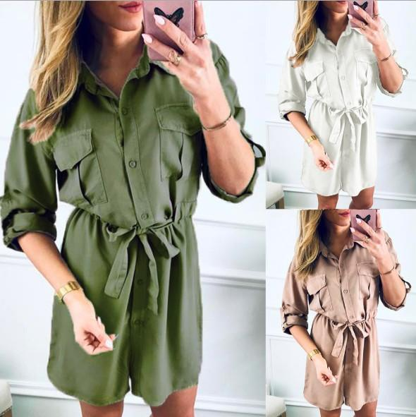 Womens Shirt Dress Spring and Autumn Womens Slim Long Casual Dress with 3 Colors Asian Size S-3XL