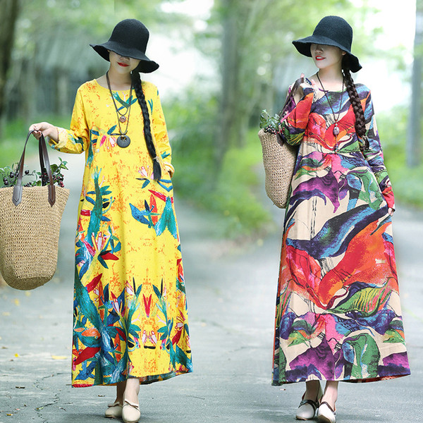 New Large-Size Long-sleeved Cotton and Hemp Dresses Printed Big-Pendant Dresses in the Spring of 2019