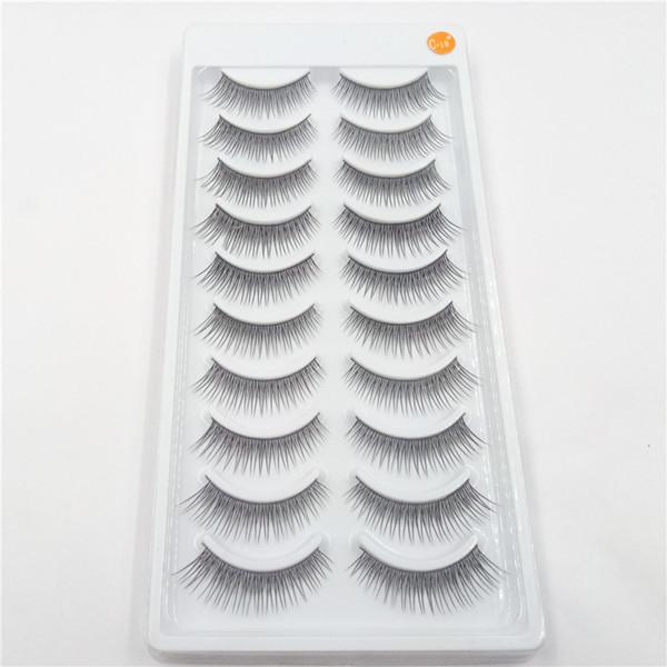 factory wholesale Free shipping 10 pairs/set false eyelashes 100% handmade artificial fiber Natural slender eyelash 200set