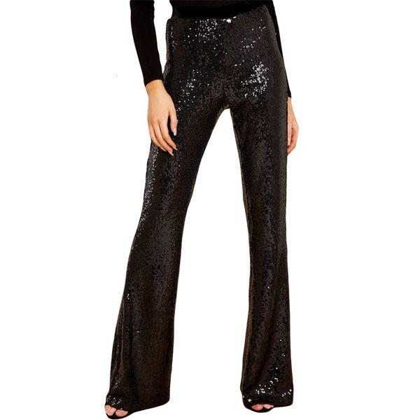 Pantalones Ying Shi Bola de las lentejuelas partido amplio patas Femenino 2019 de talle alto Fácil tubo recto Pantalones 77143