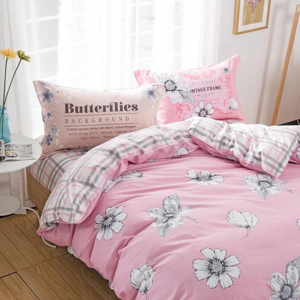 Fresh Pink White Flower Plaid Bedding Set 100% Cotton Girl Kid Bedroom  Decor 3d Duvet Cover Full Queen Sizes Bed Linens 4/Green Bedding Purple  Bedding ...
