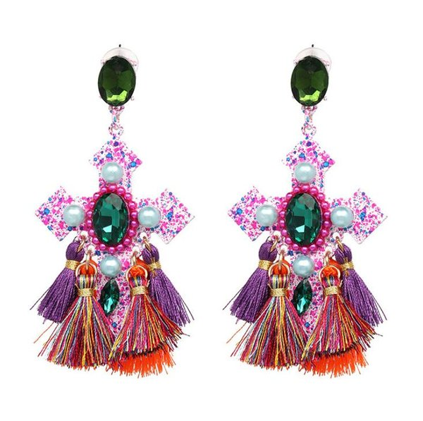 Retro Cross Gem Tassel Stud Earring Bohemia Personality Carnival Fringe Earrings Jewelry For Women National Style Hyperbole Dangler Gift