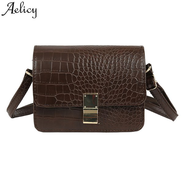 Aelicy bag 2019 Crocodile Pattern Retro Women Handbags Lady PU Leather Crocodile Pattern 18cm Top Quality Leather Shoulder bags