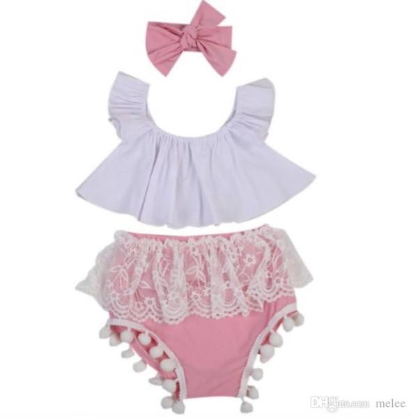 Conjunto de ropa de verano para niños pequeños para niñas pequeñas con hombros descubiertos Crop Tops blancos Tutu de encaje Bola de borla Baby Bloomers Shorts Conjunto de diadema