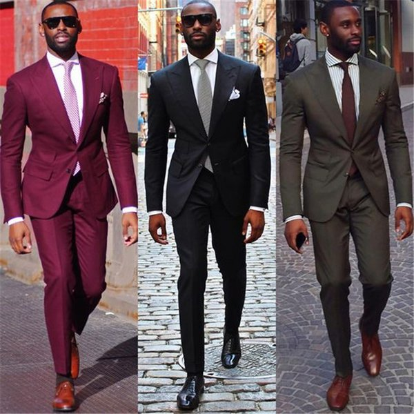 2019 Burgundy Blazer Masculino Two Button Groom Tuxedos 2 Pieces Wedding Prom Men Suits Peak Lapel Business Suit Morning Dress