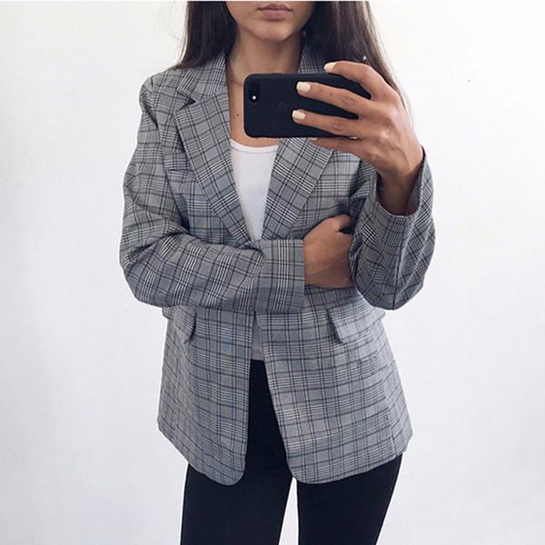 blazer new 2019 gray plaid office lady jacket fashion notched collar work suit elegant work blazers feminino