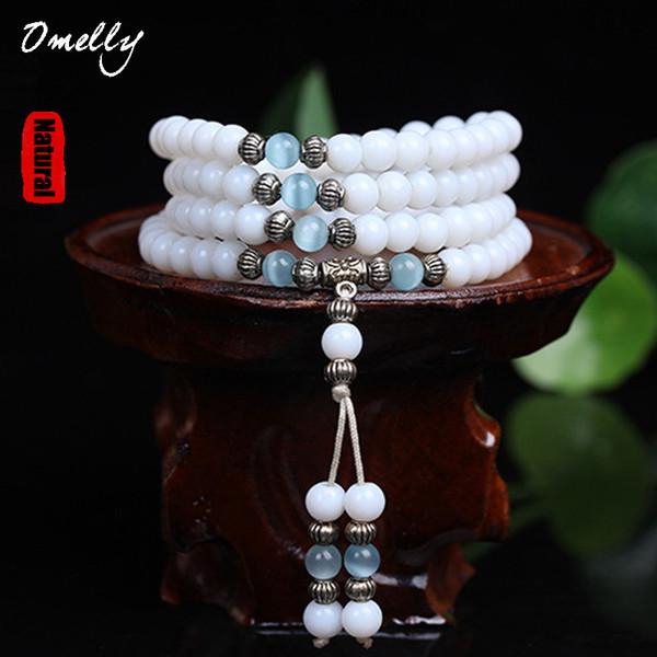 Bracelet en perles de calcédoine blanche 6mm perles en pierre semi-précieuse naturelle pierres précieuses de Quarzt gilets de Mutil Bracelet brins Bracelet en pierre Bracelet
