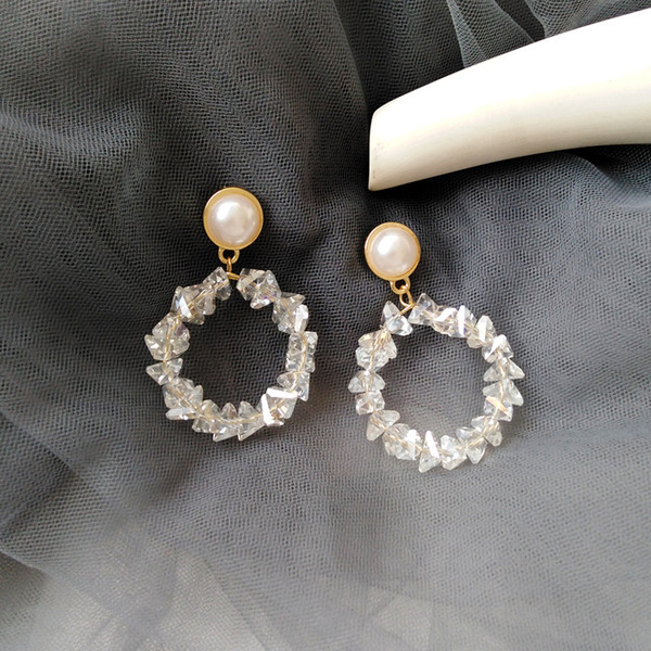 Japan Natrual Crystal Stone Clips on Earring Without Piercing Korea Fashion Shiny Pearl Hoop Earrings No Pierced Hole