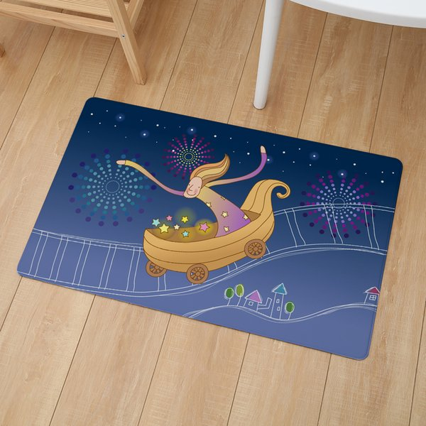 Cute Girl Illustration Print Floor Door Mat 46*76cm Kitchen Non Slip Carpet Bedroom Bathroom Entrance PVC Leather Mats And Rugs