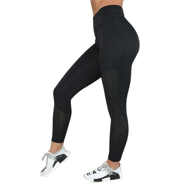 Pantalons de yoga professionnels Running Sports Fitness Pantalons Extérieurs Minceur Haute hanche Soulever une bonne force élastique Respiration avec trous