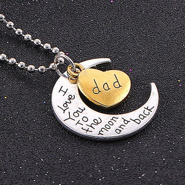 High Quality Heart Jewelry I love you to the Moon and Back Mom Pendant Necklace Silver Color Ball Chain Neklaces Wholesale Fashion Jewelry