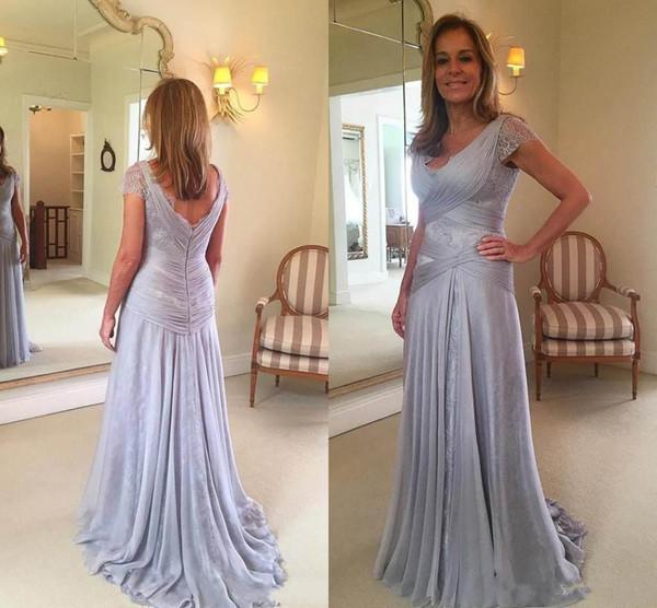 2019 элегантный мать невесты Платья V-образным вырезом молния назад с короткими рукавами длинные кружева шифон платье матери для свадьбы вечерние платья