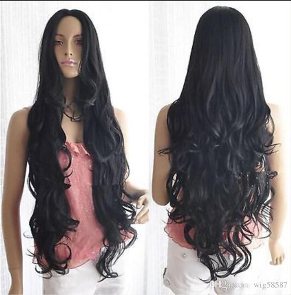Perruque longue perruque spiral ondulé noir spirale cosplay parti