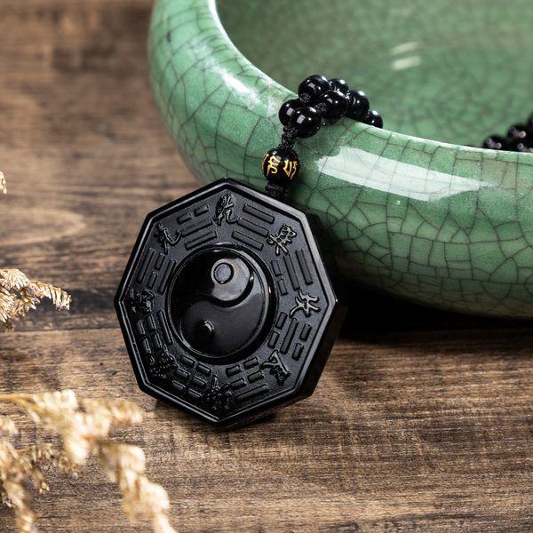 Ying Yang BAGUA Obsidian Pendant Necklace Phenomenon Numerology Symbol Men Jewelry