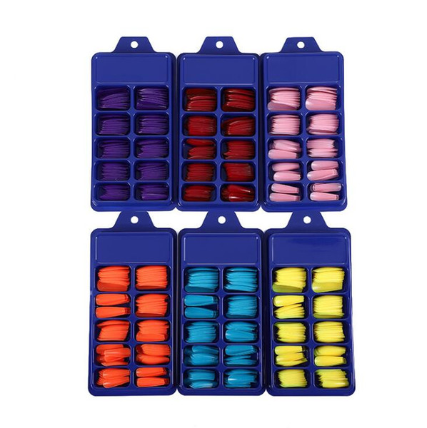 best selling Salon manicurist Candy solid color ballet nails 100 pieces of plastic small blue box with T trapezoidal false nails
