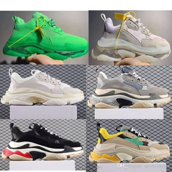 2019 Paris Triple S Дизайнерская обувь с прозрачным дном Роскошные низкие кроссовки Triple S Мужская и женская папа на платформе Спортивная обувь для тренеров 36-45