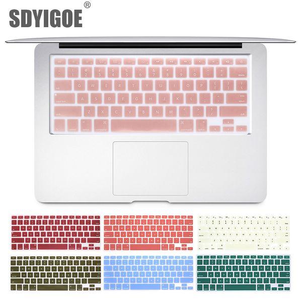 Laptop-Tastatur-Abdeckung für Macbook Air 13 Pro 15 Zoll A1466 A1502 A1278 A1398 Us Silicon Keyboard Cover Farbe Schutzfolie T190619