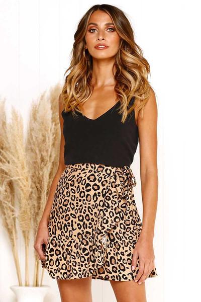 Designer womne Röcke für den Sommer Fashion Street-Art-Leopard-Druck-Bogen Panelled Short Faltenrock Polyester asiatische Größe S-XL 3 Farben