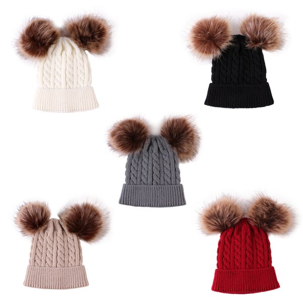 5 Colors Baby Knitted Hats Double Fur ball Pom Pom Beanies Twist Crochet Caps Winter Warm Infant Kids Boys Girls Cap M825