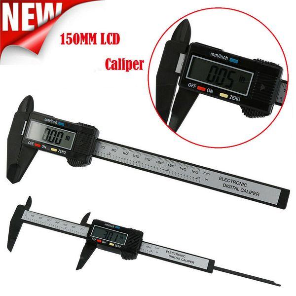 Calibro digitale 150mm 6 pollici LCD Digital Elettronico In Fibra di Carbonio Vernier Calibri Gauge Micrometro Strumento di Misura CCA11755 10 pz