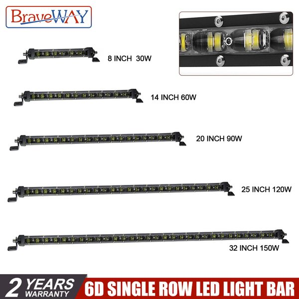 25inch 120W LED Work Light Bar Combo Slim Single Row Offroad Truck 4WD Boat Car